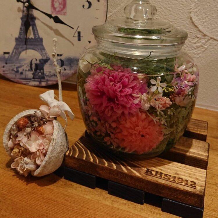 Y様 可愛いガラスのお花とブッタナッツのアレンジメント